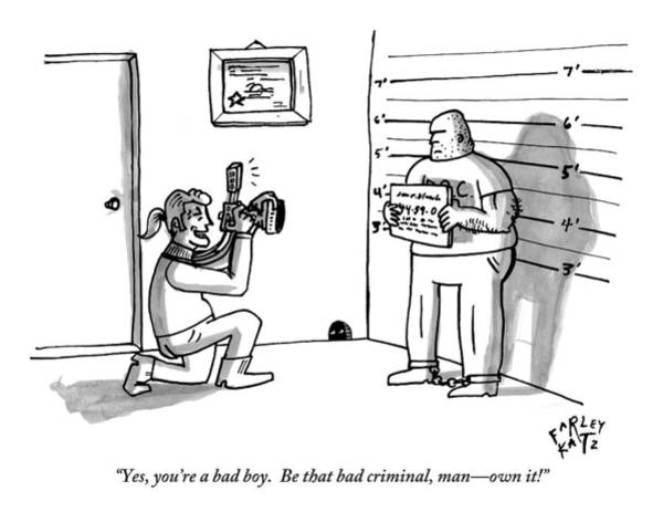 Line Up Drawing - A Photographer Snaps A Picture Of A Criminal by Farley Katz
