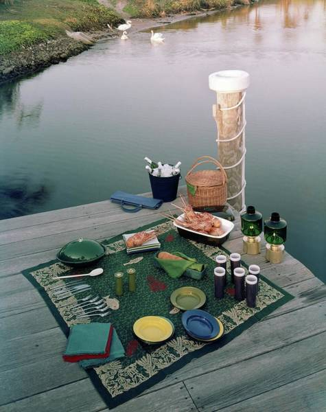 Picnic Basket Wall Art - Photograph - A Picnic Set Up On A Dock by Ernst Beadle