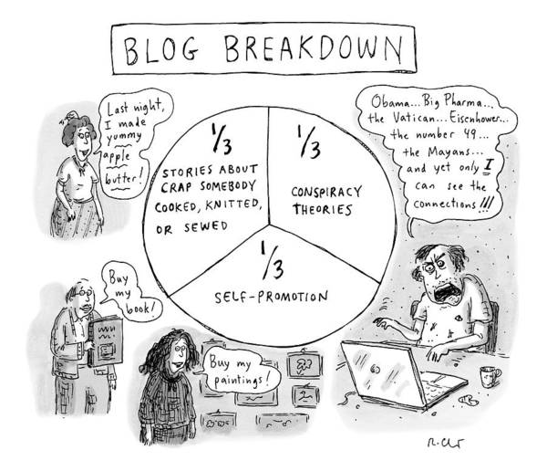 Blog Drawing - A Pie Chart Titled Blog Breakdown Is Divided by Roz Chast