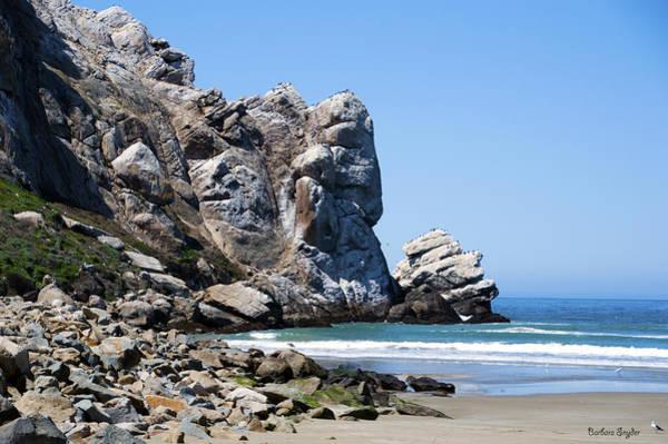 Morro Bay Digital Art - A Piece Of The Rock At Morro Bay 1 by Barbara Snyder