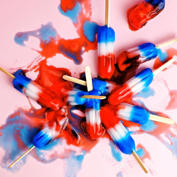 Messy Photograph - A Pile Of Red, White, And Blue Ice Pops by Juj Winn