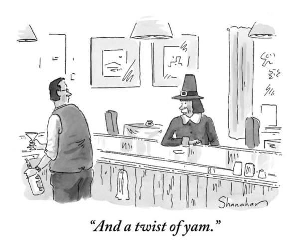 Thanksgiving Drawing - A Pilgrim Orders A Martini At A Bar by Danny Shanahan