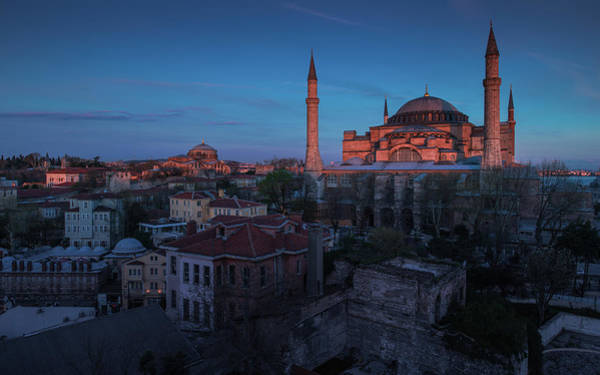 Hagia Sophia Photograph - A Pink Light Cast On Hagia Sophia by Coolbiere Photograph