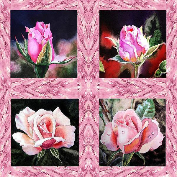Full Bloom Painting - A Pink Quartet Of Single Roses by Irina Sztukowski