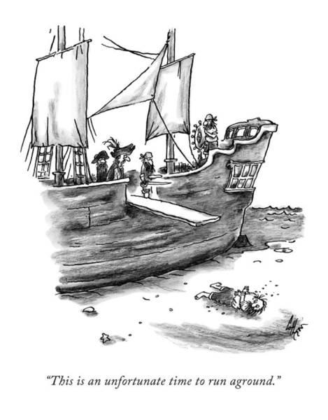 Stuck Drawing - A Pirate Shit Stuck On Land by Frank Cotham