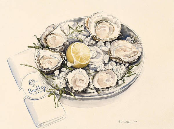 Plate Painting - A Plate Of Oysters by Alison Cooper