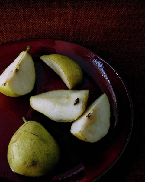 Fresh Photograph - A Plate Of Pears by Romulo Yanes
