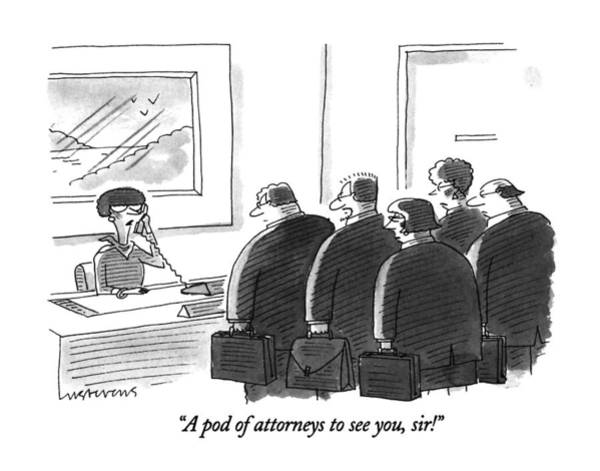 September 16th Drawing - A Pod Of Attorneys To See by Mick Stevens