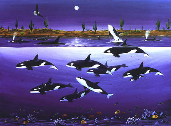 Painting - A Pod Of Desert Orcas by Lance Headlee