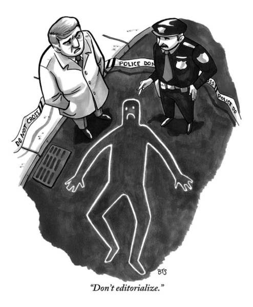 Police Drawing - A Police Investigator Lectures A  Officer by Benjamin Schwartz