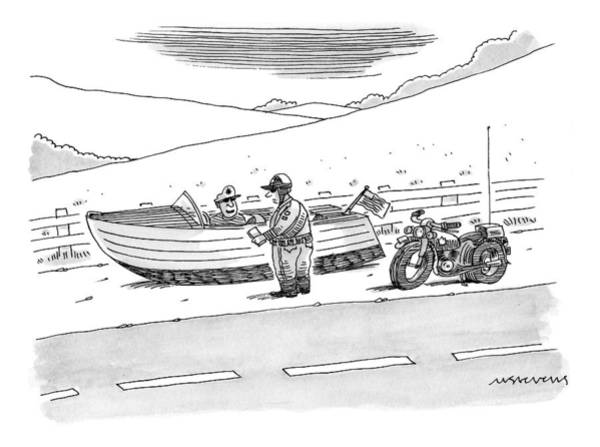 Traffic Drawing - A Police Officer Stops A Man On The Road by Mick Stevens