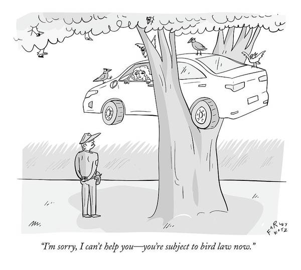 Stuck Drawing - A Policeman Speaks To A Woman Whose Car Is Stuck by Farley Katz