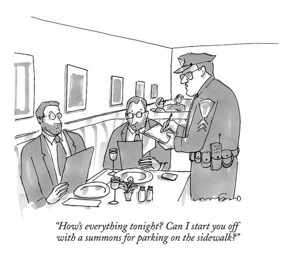 Dine Drawing - A Policeman Stands At A Restaurant Table At Which by Michael Crawford
