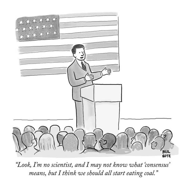 Campaign Drawing - A Politician Delivers A Campaign Speech by Paul Noth