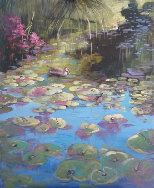 Painting - A Pond Reflection by Kathy  Karas
