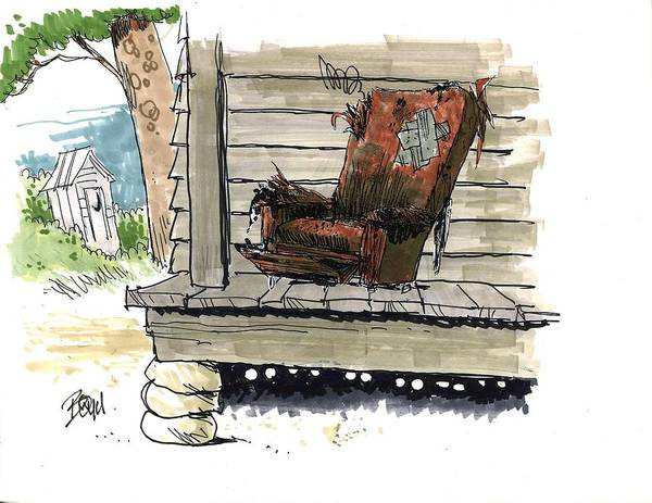 Front Porch Drawing - A Porch Collapse Would Kill More Than 3 Dogs by David Boyd