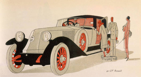 1924 Drawing - A Porter Holds Open The Door  Of A 40cv by Mary Evans Picture Library