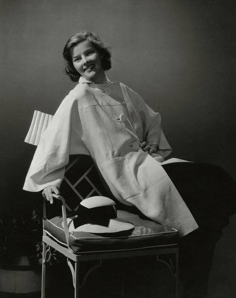 A Portrait Of Katharine Hepburn Wearing A Clare Art Print