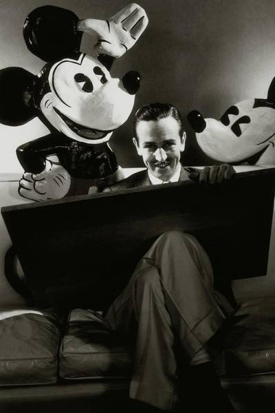 A Portrait Of Walt Disney With Mickey And Minnie Art Print
