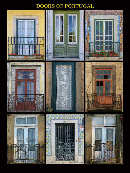Balcony Photograph - A Poster Featuring Nine Different Doors by Mallorie Ostrowitz