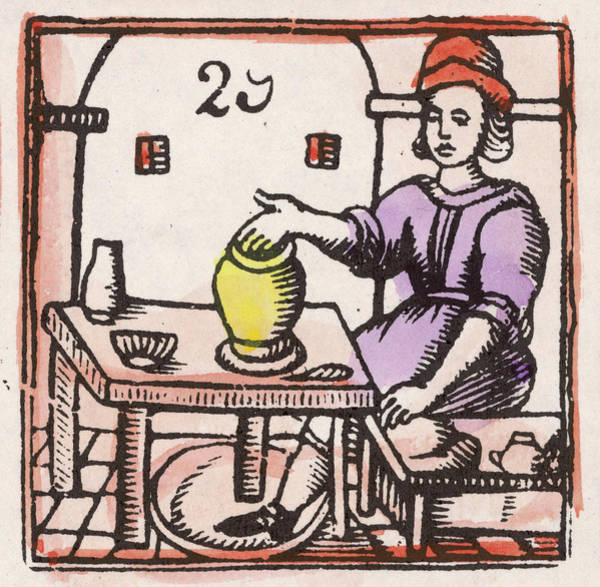 Potters Wheel Wall Art - Drawing - A Potter At The Wheel          Date by Mary Evans Picture Library