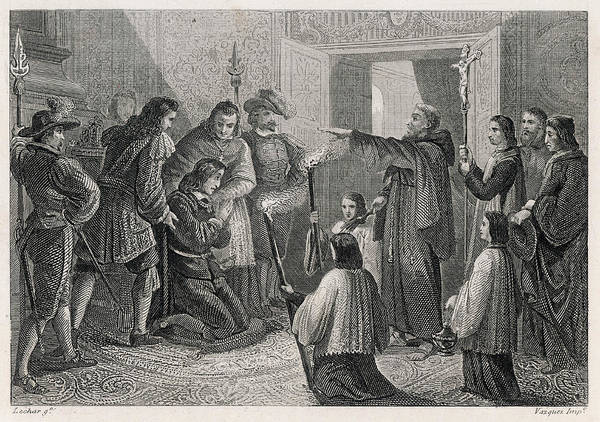 Suffering Drawing - A Priest Performs An Exorcism by Mary Evans Picture Library