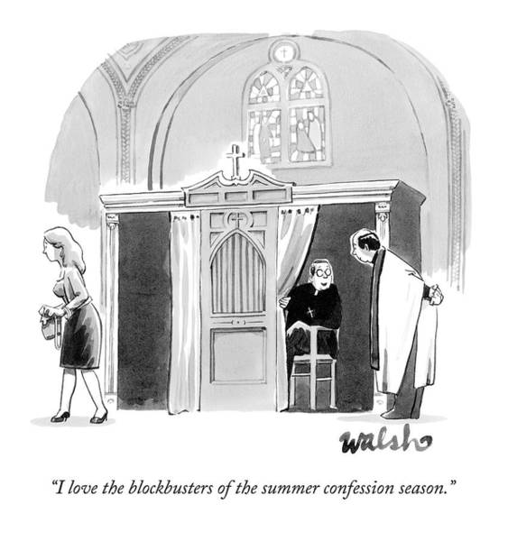 Season Drawing - A Priest Pokes His Head Out Of A Confessional by Liam Walsh