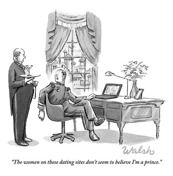 Dating Drawing - A Prince Is Turned Away From His Laptop by Liam Walsh