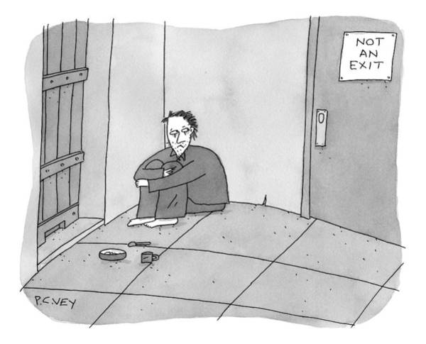 Prison Drawing - A Prisoner Hunches In The Corner Of A Cell by Peter C. Vey