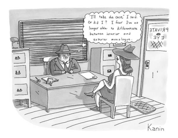 Detective Drawing - A Private Eye Is Sitting Behind His Desk Looking by Zachary Kanin