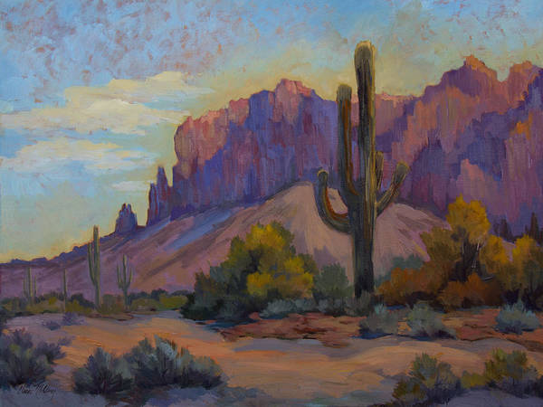 Arizona Desert Wall Art - Painting - A Proud Saguaro At Superstition Mountain by Diane McClary