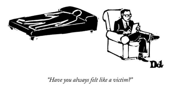 Murder Drawing - A Psychiatrist Sits With His Patient by Drew Dernavich