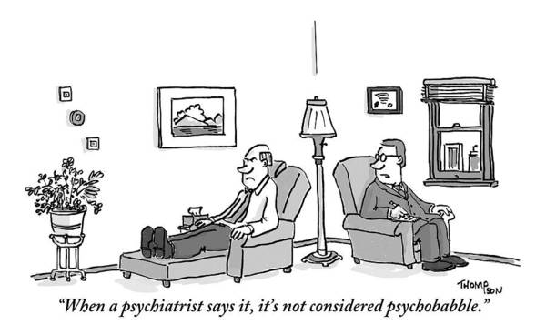 Couch Drawing - A Psychiatrist To His Patient Who Lies On A Couch by Mark Thompson