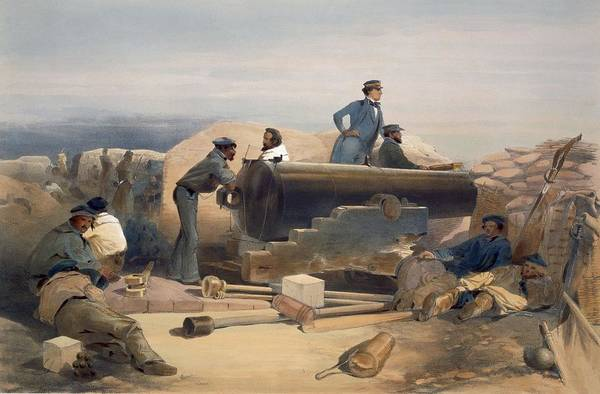 Trench Wall Art - Drawing - A Quiet Day In The Diamond Battery by William 'Crimea' Simpson