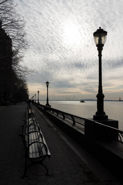 Photograph - A Quiet Peaceful Esplanade - New York City Hudson River by Georgia Mizuleva