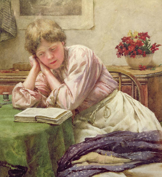 Woman Reading Wall Art - Painting - A Quiet Read by Walter Langley