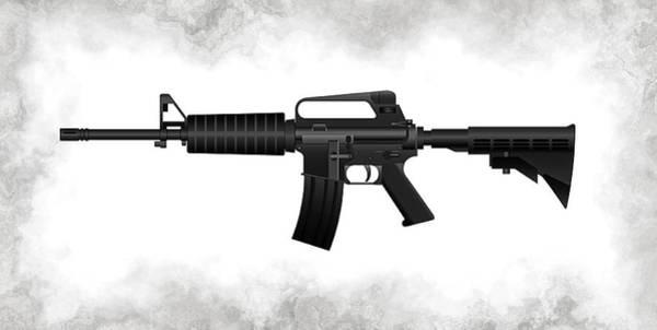 Assault Weapons Digital Art - A R 15 Rifle by Daniel Hagerman