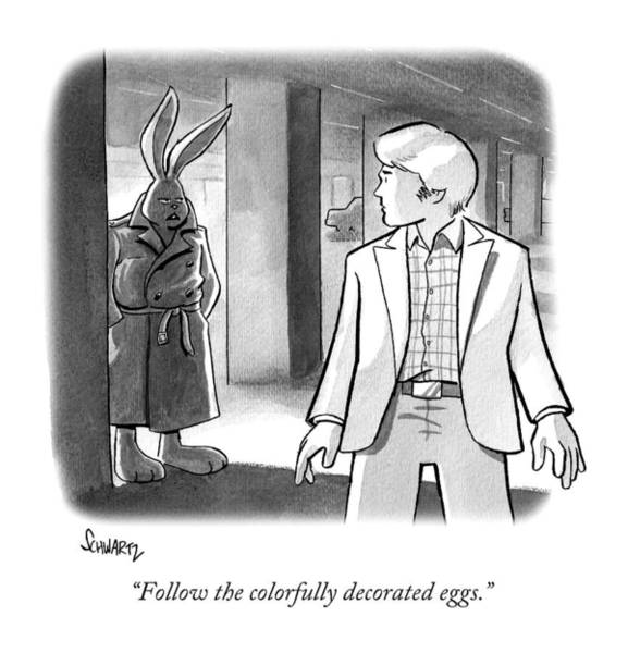 Egg Drawing - A Rabbit In A Trench Coat In A Parking Garage by Benjamin Schwartz