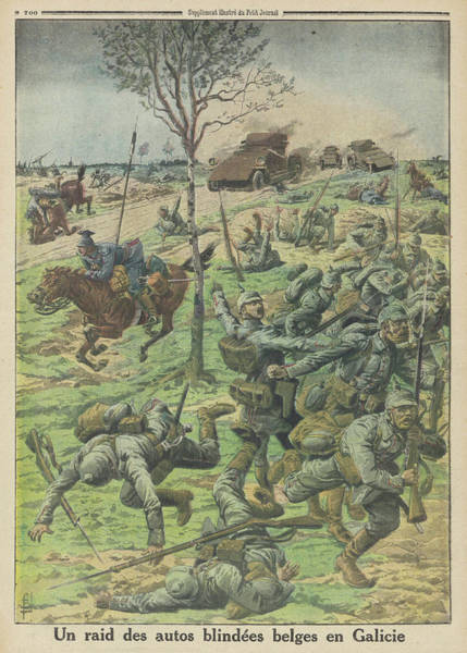 Galicia Drawing - A Raid By Belgian Armoured  Vehicles by Mary Evans Picture Library
