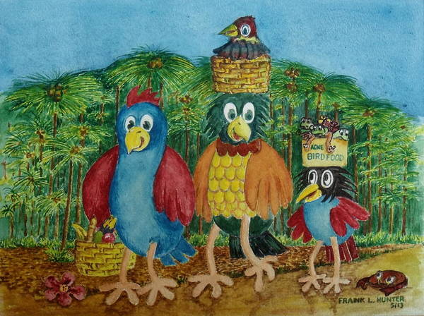 Painting - A Rainforest Bird Family Goes On A Picnic by Frank Hunter
