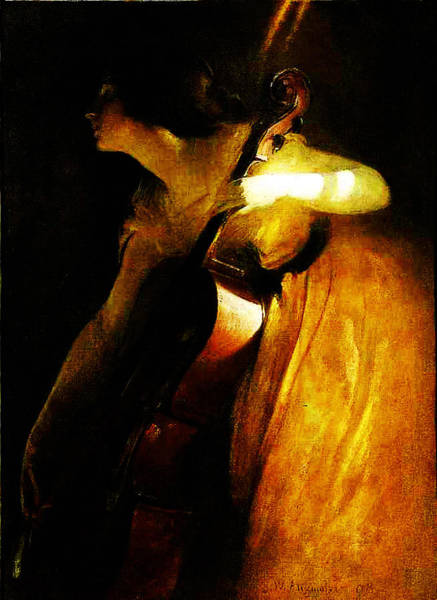 Cellist Painting - A Ray Of Sunlight - The Cellist  by MotionAge Designs