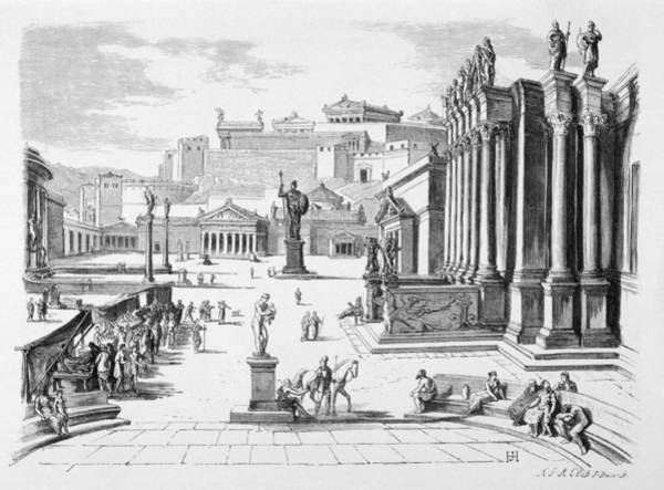 Reconstruction Drawing - A Reconstruction Of The Agora,  Sparta by Mary Evans Picture Library