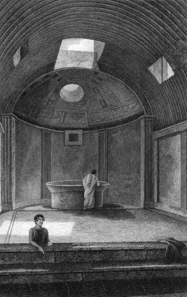 Reconstruction Drawing - A Reconstruction Of The  Calidarium, Or by Mary Evans Picture Library