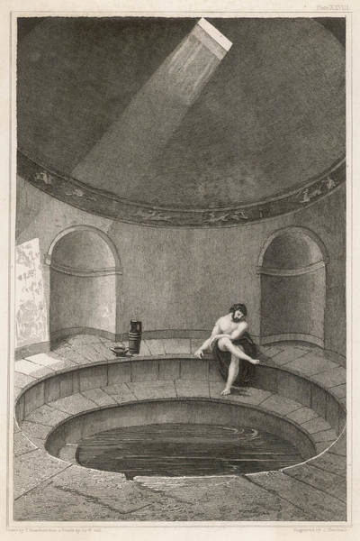 Reconstruction Drawing - A Reconstruction Of The  'natatio' Bath by Mary Evans Picture Library