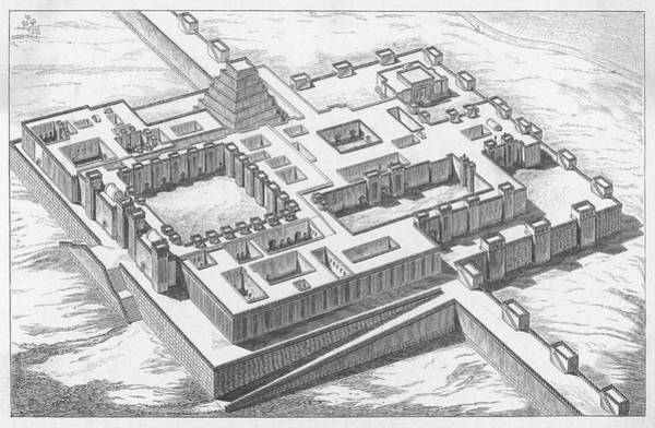 Reconstruction Drawing - A Reconstruction Of The Palace by Mary Evans Picture Library