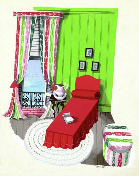 House Digital Art - A Red Bed In A Bedroom by Edna Eicke