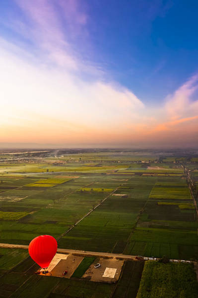 Photograph - A Red Hot Air Balloon Landing In Egyptian Fields by Mark Tisdale