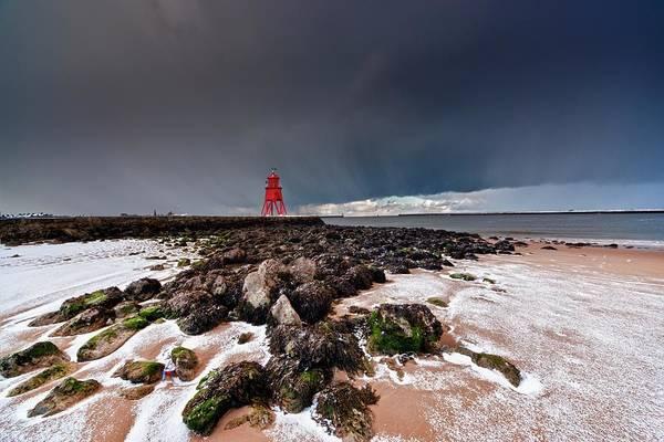 Wall Art - Photograph - A Red Lighthouse Along The Coast by John Short
