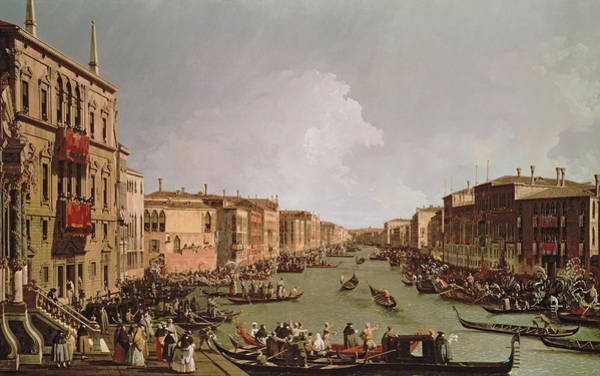Grey Skies Wall Art - Painting - A Regatta On The Grand Canal by Antonio Canaletto