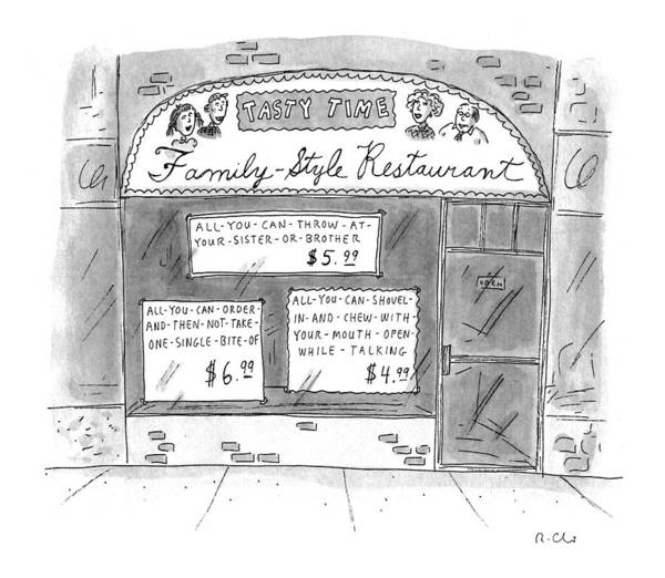 May 30th Drawing - A Restaurant With Various Signs by Roz Chast